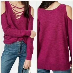 Express Cold Shoulder Sweater REVERSIBLE